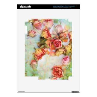 Dry roses on green, vintage device skins iPad 3 decals