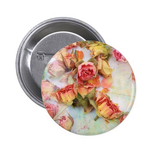 Dry roses vintage design button