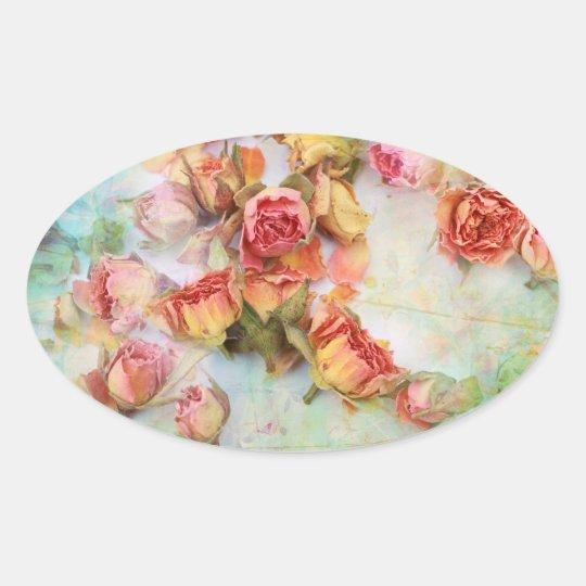 Dry roses vintage design oval sticker