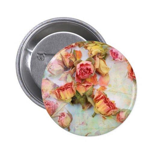 Dry roses vintage design pin