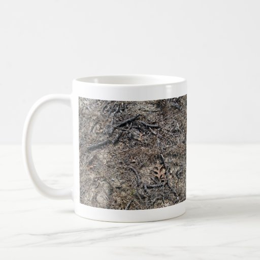 Dry Short Grass and Leaves Background Mug