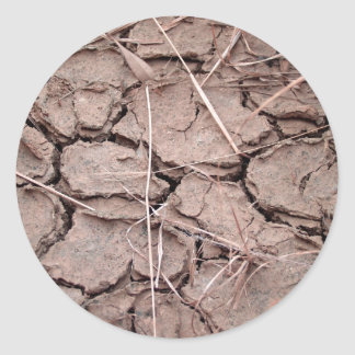 dry  soil  / crack earth classic round sticker