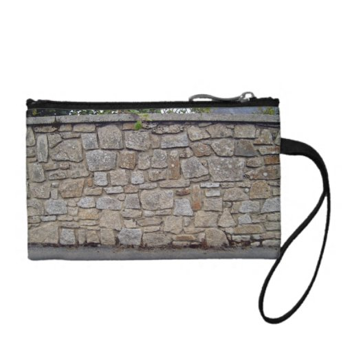 Dry Stone Wall With Plants Besides Road Coin Purse