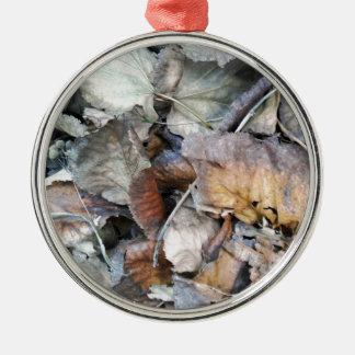 Dry Tilia Leaves Metal Ornament
