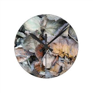 Dry Tilia Leaves Round Clock