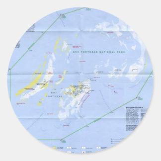 Dry Tortugas Map Classic Round Sticker