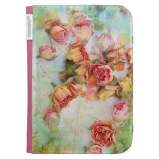 Dry vintage roses on green kindle case