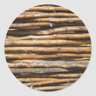 Dry wattled fence decoration classic round sticker
