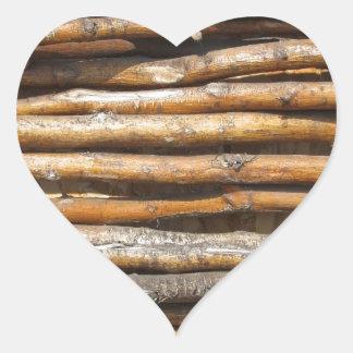 Dry wattled fence decoration heart sticker