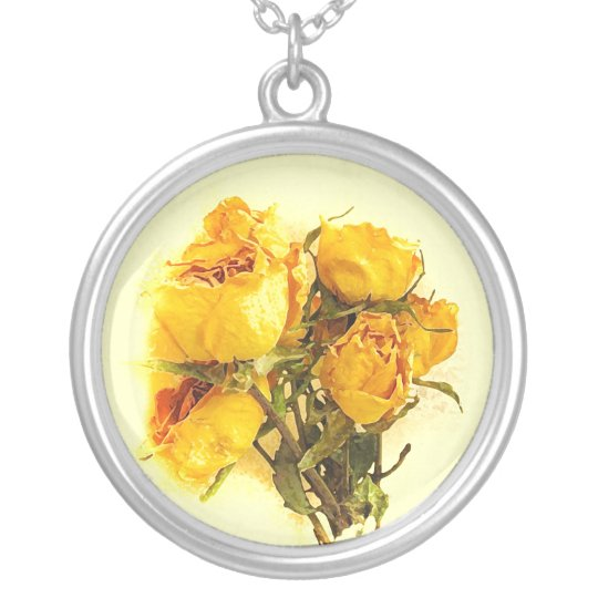 Dry Yellow Rose Garden Flowers Silver Plated Necklace