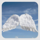 Drying angel's wings. square stickers