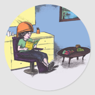 Drying Hair in a Beauty Salon Classic Round Sticker