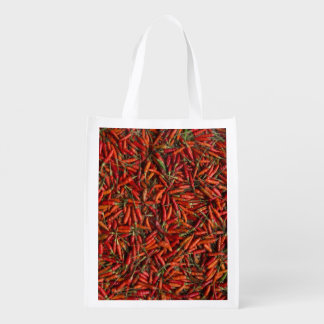 Drying Red Hot Chili Peppers Reusable Grocery Bag