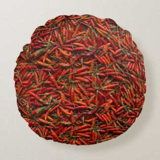 Drying Red Hot Chili Peppers Round Pillow