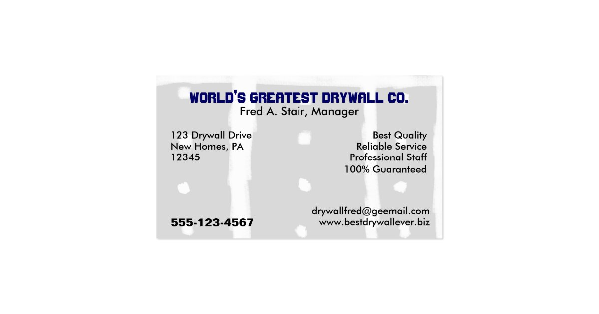 Drywall business card zazzle for Where can i use my synchrony home design card