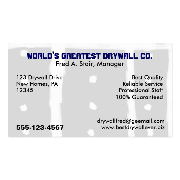 Drywall Business Card Template