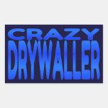 Drywaller loco pegatina rectangular