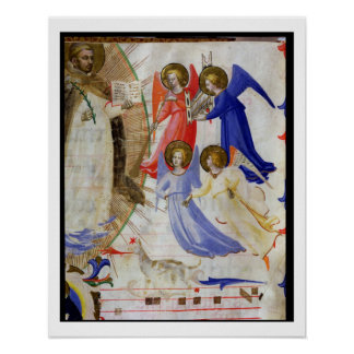 ds 558 f.67v St. Dominic with four musical angels, Poster