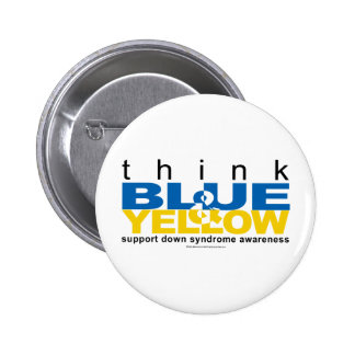 DS Think Blue and Yellow Pinback Buttons