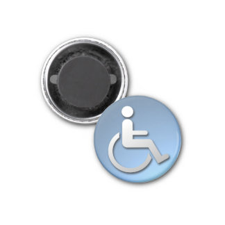 Dsabled Person. 1 Inch Round Magnet