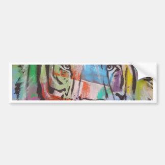 DSC00414.jpg Bright Colorful Tiger face Bumper Sticker