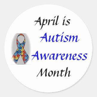 DSC_0555, conciencia del autismo, abril es, mes Pegatina Redonda