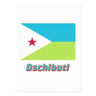 Dschibuti Flagge mit Namen Postcard