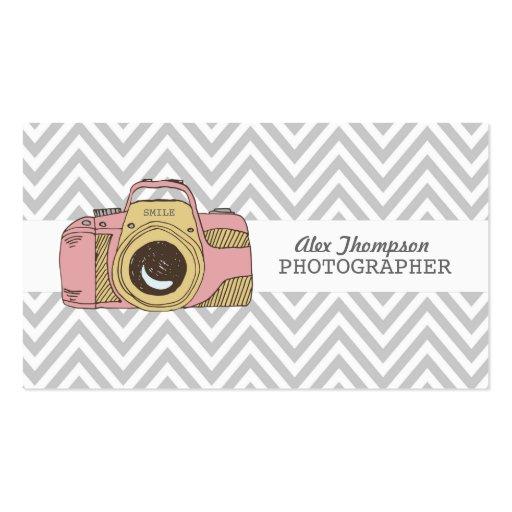 DSLR Camera Chevron Photographer Business Cards
