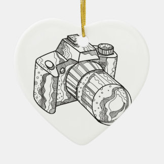 DSLR Camera Doodle Art Ceramic Ornament