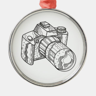 DSLR Camera Doodle Art Metal Ornament