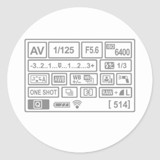 DSLR Setting Classic Round Sticker