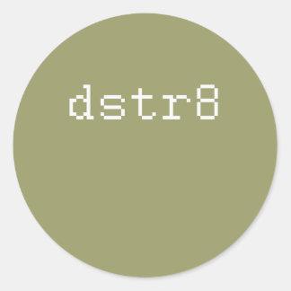 dstr8 etiqueta redonda