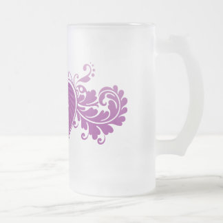 DT Fangirl Heart (Glass) Frosted Glass Beer Mug