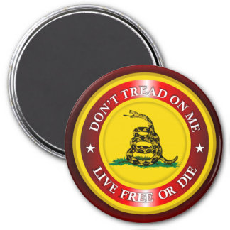 DTOM - Live Free or Die 2 (red) 3 Inch Round Magnet