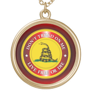 DTOM - Live Free or Die 2 (red) Gold Plated Necklace
