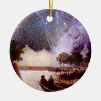 Du Puigaudeau: Fireworks over the Port Ceramic Ornament