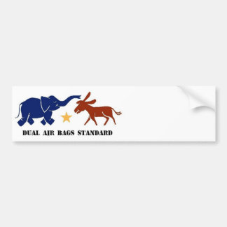 DUAL AIR BAGS STANDARD BUMPER STICKER POLITICS