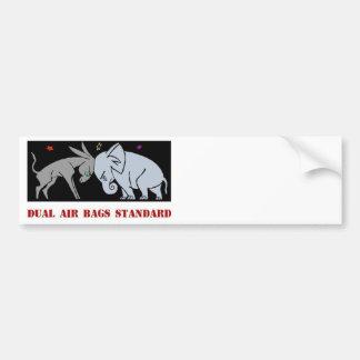 DUAL AIR BAGS STANDARD BUMPER STICKER POLITICS