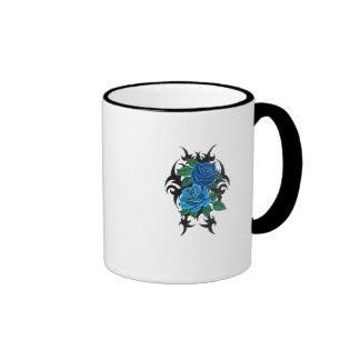 dual blue rose ringer ceramic mug