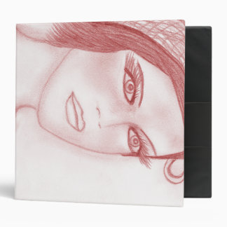 Dual Bow Flapper Girl in Cranberry 3 Ring Binder