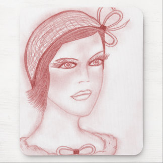 Dual Bow Flapper Girl in Cranberry Mouse Pad
