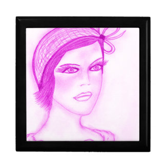 Dual Bow Flapper Girl in Hot Pink Jewelry Box