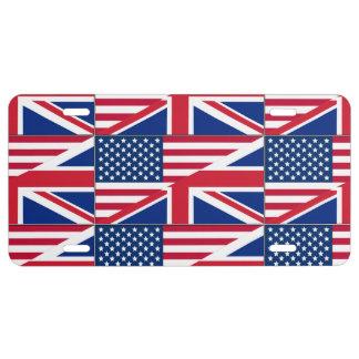 Dual Citizen American & British Flag License Plate
