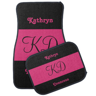 Dual Color custom name & monogram car floor mats