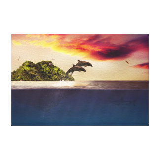 Dual Dolphins At Sunset Stretched Canvas Prints