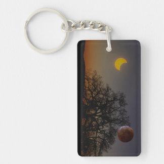 Dual Eclipse Digital Art Keychain