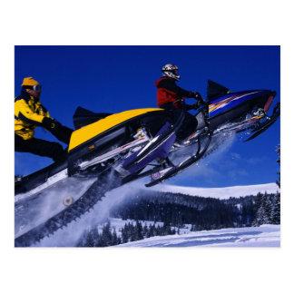 Dual Jumping Snowmobiles Postcard