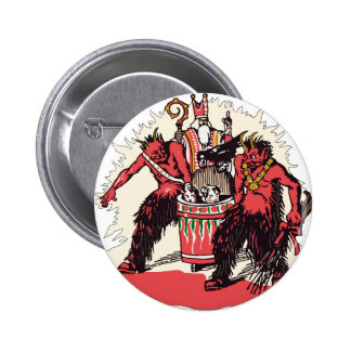 Dual Krampus and Old St. Nick Button