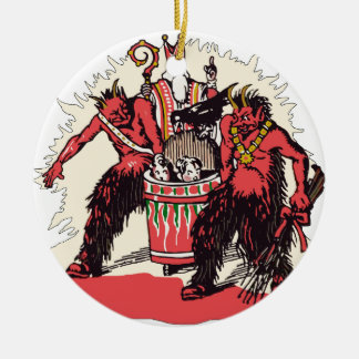 Dual Krampus and Old St. Nick Double-Sided Ceramic Round Christmas Ornament