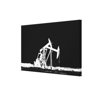 Dual Oil Pumping Unit Silhouette Canvas Print